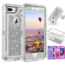For iPhone X 6s 6 7 8 Plus Glitter Quicksand Clear Liquid Clear 360° Cover Case
