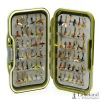 Waterproof Fly Box + Mixed Dry Trout Flies for Fly Fishing Size 8 10 12 14 16 18