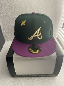 Capsule Hats Atlanta Braves 96 Olympic WS Green 2 Tone Size 7 1/4 Fitted