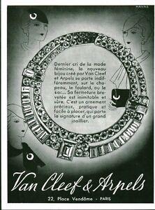 Publicité ancienne bijoux Van Cleef & Arpels 1933 issue de magazine