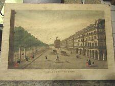 "Antique BASSET engraving Vue De La Rue De Rivoli A Paris - 18"" x 12.5"" - LUD"