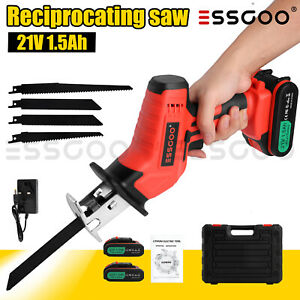 21V Cordless Reciprocating Saw Wood Metal Cutting 2X1500mAh Batteries + 4 Blades