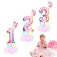 32'' Giant Rainbow Number Foil Balloons Baby Shower Birthday Unicorn Party Decor
