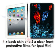 Cool Fire Skull Back SKIN STICKER DECAL COVER and 2 films for Apple iPad Mini