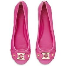 TORY BURCH Clines Ballet Flat Poppy Pink Tumbled Pebbled Leather Gold Logo sz 8