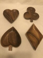 Vintage Set of MONKEY POD Wood CARDS Heart Spade Club Diamond SNACK Plate Bowl