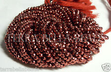 "13"" metallic rose copper red coated PYRITE faceted rondelle beads 3.5mm- 4mm"