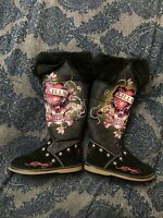 Womens ED HARDY Love Kills Slowly Black Tall Winter Boots Faux Fur Size 6.