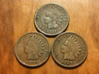 3 INDIAN HEAD PENNY CENT ANTIQUE RARE USA COIN 1882,1904,1907 NO RESERVE NO #23B