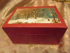 ancienne boite en carton decor paysage sous la neige epoque 1930