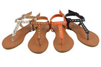 Womens Roman Gladiator Spike Studded Flats Sandals T Strap Thong Shoe, Colors