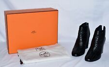 Hermes Leather Laser Cut Ankle Boots Black Size 41