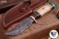 CUSTOM HAND FORGED DAMASCUS STEEL SKINNER KNIFE W/  Olive WOOD HANDLE - Q 455