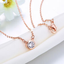 Lovely 18K Rose Gold Filled Circle Clear Zircon Crystal Necklace Gift Party