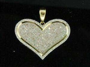 2.00 Carat Round D/VVS1 Diamond Love Heart Pave Pendant 14K Yellow Gold Finish