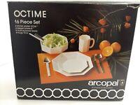 16-Pc Arcopal OCTIME Octagonal White Dinnerware Set w/ 4 Mugs, 8 Plates, 4 Bowls