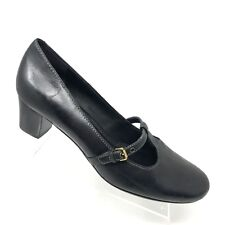 Ecco T-Strap Mary Jane Black Leather Buckle Heel Womens Shoe SIZE 40 / 9 - 9.5