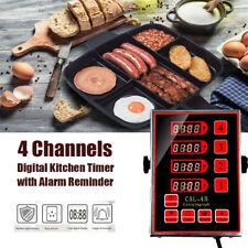 Commercial 4 Channel Kitchen Timers Restaurant Timer Loud Alarm Cooking Reminder