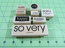 Stampin Up So Very Stamp Set of 8 Sorry Cute Happy Missed Sweet Loved Blessed