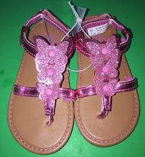NEW! TCP Girls Size Toddler 8 Butterfly Sandals Dress Shoes Pink Glitter Gift!