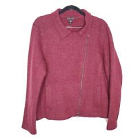 Eileen Fisher women L red wool causal career moto sweater jacket coat