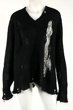 DIOR Black Mohair Blend Distressed Knit V-Neck Sweater M