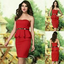 Sz 8 10 Red Strapless Peplum Sexy Formal Cocktail Party Club Slim Fit Midi Dress