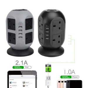 8 Way Extension Lead Cable Surge Protected Tower Power Socket 4 USB Port UK Plug