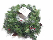National Tree Company 24 Inch Artificial Wreath Crestwood Spruce with Silver Bristles and LED Lights