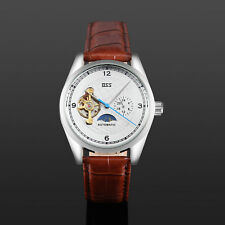 ESS Skeleton Mechanical Watch Automatic Men's Brown Leather Tourbillon Silver
