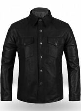 New Men's Genuine Lambskin Shirt Basic Black Vintage Jacket Biker Slim Fit PT01