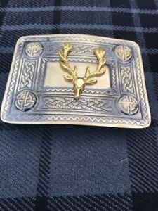 Men's Celtic Kilt Belt Buckle Brass Antique Finish Buckle & Stag Head Badge