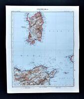 1911 Stieler Map Italy Sardinia Cagliari Sassari Tunisia Algeria Tunis Africa