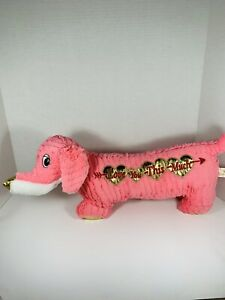 """DanDee Pink Dog Daschund Plush I Love You This Much 22"""" Collectors Choice"""