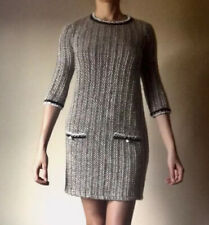 Zara Trafaluc Boucle Sweater Shift Size 3/4 Sleeve Dress S Brown Beige
