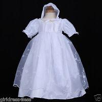 White Infant Baby Girl Baptism Christening Gown Dress + Bonnet 6M 12M 18M 24M