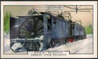 Swedish State Railways Snow Plow 80+ Y/O Ad Trade Card