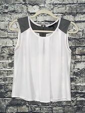 Ro & De Women's Ivory Tan Gray Faux Suede Yoke Exposed Zipper Detail Top Size XS