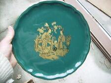 Grand plat KG Lunéville décor japonisant chinois 32cm doré et vert vintage