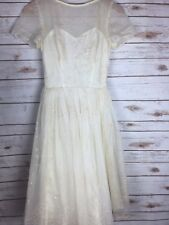 Vintage Dress 1950's Party Cocktail Off White Cream Sparkle Sequence I1