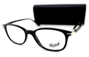 NEW Genuine PERSOL Black Silver Full Rim Eyeglasses Frame PO 3183V 1041 52 mm