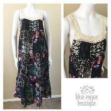 Bohemian Vintage Inspired Gypsy Cotton Patchwork Free Size Maxi Sundress #15