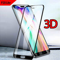 Huawei P20 Lite Full Coverage 3D Curved Tempered Glass Screen Protector Black
