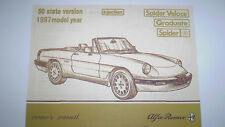 New listing Alfa Romeo Spider Owner's Manual - 1987 - Pdf Version