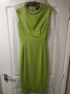 Ted Baker Lime Green Zip Back Midi Evening Cocktail Dress Size 0 UK 6 Pre-Owned