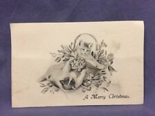 A Merry Christmas kittens in basket divided back postcard