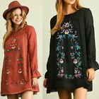 Umgee USA Boho 70's Black - Rust Floral Embroidered FLOWY Long Sleeve Dress S-L