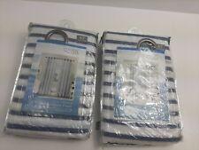 Costal Life Grommet Panel Curtains Shoreline Set of 2 Blue White Stripes