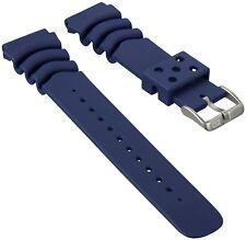 ZULUDIVER PU Rubber Sports Diver Watch Strap For SEIKO Dark Blue 22mm