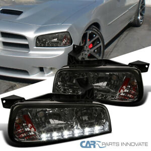 For 06-10 Dodge Charger Smoke SMD LED Strip Headlights Corner Signal Lamps Pair
